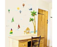 Walpus Wandaufkleber Wandsticker Wandkunst Abziehpapier Kunst Dekoration Segelboot Surfer Strand Meer Kinderzimmer Kinder