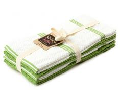 Sticky Toffee 100% Baumwolle Frottier Geschirrtücher, 4er Set Geschirrtücher | 40,6 x 71 cm | Grün | Weiche saugfähige Restaurant-Bar-Glas-küchentücher