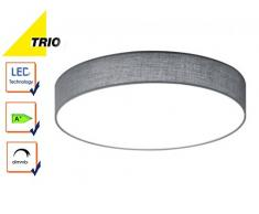 Trio Leuchten 621912411 Lugano A+, LED Deckenleuchte, nickel, 22 watts, Integriert, Stoffschirm Grau, mit Switch-Dimmer,40 x 40 x 10.5 cm