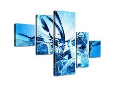 LANA KK - Leinwandbild Graf Fire Ice abstraktes Design auf Echtholz-Keilrahmen – Fotoleinwand-Kunstdruck in blau, fünfteilig & fertig gerahmt in 160x100cm