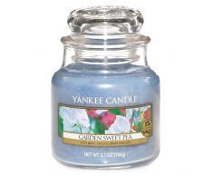 Yankee Candle 1152965E Classic-Garden Sweet Pea Duftkerze Glas 6 x 6 x 8,90 cm, blau