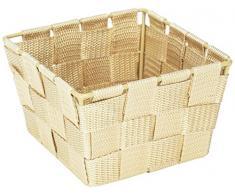 WENKO 20683100 Aufbewahrungskorb Adria Mini Beige - Badkorb, quadratisch, Kunststoff-Geflecht, Polypropylen, 14 x 9 x 14 cm