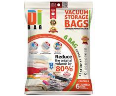 Vakuumbeutel - Vakuum Aufbewahrungsbeutel - 6 Vakuum Kleiderbeutel - Beutelgröße: 130x90 cm - Kompressionsbeutel zur Aufbewahrung von Kleidung , Bettdecken , Reise , Bettwäsche , Kissen - DIBAG
