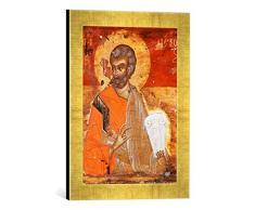 Gerahmtes Bild von AKG Anonymous Apostel Petrus/Ikone, Kunstdruck im hochwertigen handgefertigten Bilder-Rahmen, 30x40 cm, Gold raya