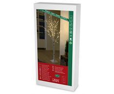Konstsmide 3380-100 LED Dekoration Birke 1,50m / für Innen (IP20) / 24V Innentrafo / 72 warm weiße Dioden / weißes Kabel