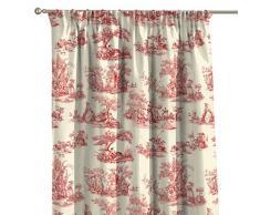 FRANC-TEXTIL 300-132-15 Vorhang mit Kräuselband, Avinon, 130 x 260 cm, creme / rot