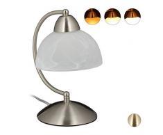 Relaxdays Tischlampe Touch, Retro Design, E14-Fassung, dimmbare Nachttischlampe, Glas & Eisen, HBT 25x15x19 cm, Silber