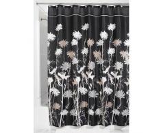 InterDesign Daizy Duschvorhang | Designer Duschvorhang mit stabiler Aufhängung im Gänseblümchen-Design | schöner Badewannenvorhang 180,0 cm x 200,0 cm | Polyester schwarz/grau