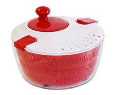 STONELINE Salatschleuder mit Kurbel, ideal zum Waschen und Trocknen von Salat, Gemüse und Kräutern Küchenhelfer, Kunststoff, rot, 24.3 cm