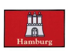 YOUNG GENERATION Shoe-Max YH 101542 W Everclean Fussmatte Hamburg Castle 44 x 75 cm, rot/beige/Smoke