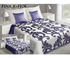Eurofirany Tagesdecke, Polyester-Baumwolle, Cream/Violet, 220 x 240 x 1 cm