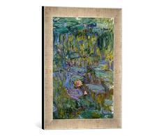 Gerahmtes Bild von Claude Monet Seerosen, Kunstdruck im hochwertigen handgefertigten Bilder-Rahmen, 30x40 cm, Silber Raya