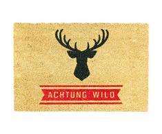 Lako Cocoprint UNO Fußmatte, Kokos, 015 Tier Sprüche Elch Achtung Wild, 60 x 40 x 1,5