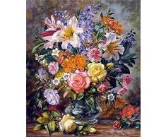 GMMH Diamond Painting Set Bild 30 x 40 Diamant Malerei Stickerei Handarbeit Basteln Mosaik Steine Blumen Korb Antik Blumenstrauß