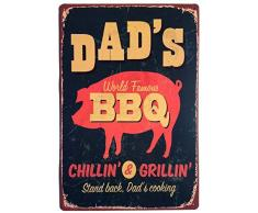 Dad s BBQ Stand Back Dad s Cooking Wanddekoration vintage Blechschild 20 x 30 cm