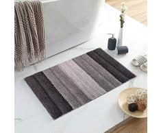 Lewondr Mikrofaser Badematte, Weich rutschfest Badteppich Fußmatte, elegant gestreift Hochflor Badvorleger für Badezimmer 50x80cm - Grau und Braun