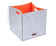 LuckySign-Simeles Aufbewahrungskorb Filz, 33x33x33cm, Orange