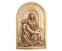 Design Toscano EU533472 Wandrelief Die Pieta Lunette, Wandskulpturen, Andere, gold, 1,25 x 2,5 x 18 cm