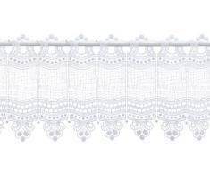 Plauener Spitze by Modespitze, Store Bistro Gardine Scheibengardine mit Stangendurchzug, hochwertige Stickerei, Höhe 28 cm, Breite 96 cm, Weiß