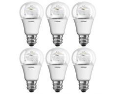 Osram LED Star Classic A, LED Lampe in Kolbenform mit E27- Sockel, Nicht Dimmbar, Ersetzt 40 Watt, Klar, Warmweiß, 6er- Pack