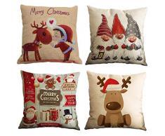 Gspirit 4 Stück Überwurf Kissenbezug Weihnachten Deko quadratisch Kissenbezug Couch Baumwolle Leinen für Wohnzimmer Sofa Bett mit unsichtbarem Reißverschluss 45,7 x 45,7 cm Set 7