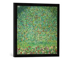 Gerahmtes Bild von Gustav Klimt Apfelbaum I, Kunstdruck im hochwertigen handgefertigten Bilder-Rahmen, 50x50 cm, Schwarz matt