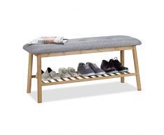 Relaxdays Schuhbank Bambus f. 4 Paar Schuhe, gepolsterte Sitzbank f. 2 Personen, gemütliche Garderobenbank, natur-grau