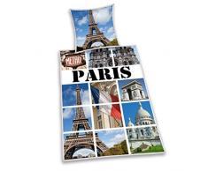 Herding 445965050 Bettwäsche Paris, Kopfkissenbezug: 80 x 80 cm mit Bettbezug: 135 x 200 cm, 100 % Baumwolle, Renforce