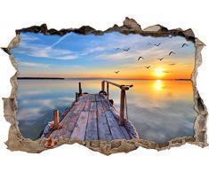 Pixxprint 3D_WD_S2490_92x62 traumhafter Blick aufs Meer beim Sonnenuntergang Wanddurchbruch 3D Wandtattoo, Vinyl, bunt, 92 x 62 x 0,02 cm