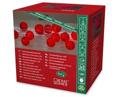 Konstsmide 3136-553 LED Dekolichterkettegroße rote Baumwollkugeln / für Innen (IP20) 24V Innentrafo / 16 warm weiße Dioden/transparentes Kabel