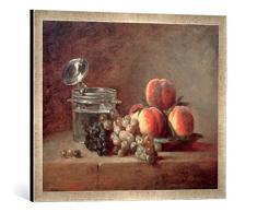 Gerahmtes Bild von Jean-Baptiste-Siméon Chardin J.B.S.Chardin, Die Kristallschale, Kunstdruck im hochwertigen handgefertigten Bilder-Rahmen, 70x50 cm, Silber raya