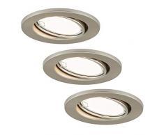 Briloner Leuchten LED Einbauleuchten 3er Set, Einbaulampen schwenkbar, 3 x LED/GU10 3W 200lm, Lichtfarbe: warm weiß, Einbautiefe: 60 mm, Einbaumaß 68mm, Metall, 3 W, Matt-nickel, Ø86 mm