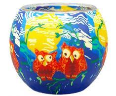 Himmlische Düfte Geschenkartikel CC207 Tischdekoration, Red Owls Windlicht Glas 11 x 11 x 9 cm, bunt