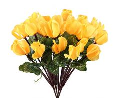 Nahuaa Kunstblumen, Alpenveilchen, Seide, Blumenarrangements, für Zuhause, Hochzeit, Tischdekoration, Partydekoration, 4 Stück gelb