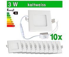 LEDVero 10x Ultraslim LED Panel SMD 2835, 3 W, eckig Deckenleuchte Lampe Einbau Leuchte Licht Strahler, kaltweiß SP134