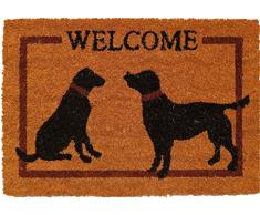oKu-Tex Fußmatte | Fußabtreter | Türmatte | Eingangsmatte | Raja| Welcome Hunde | Aufdruck | Kokosmatte Kokos | für außen | rutschfest | 40x60 cm