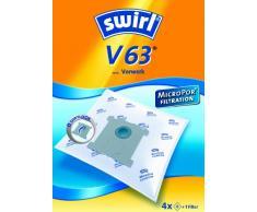 Swirl V63 Staubsaugerbeutel (für Vorwerk Staubsauger, stabil und saugstark, verschließbare Halteplatte, 4 Beutel, 1 Filter)