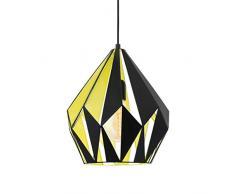 EGLO Pendellampe Carlton 1, 1 flammige Vintage Pendelleuchte, Retro Hängelampe aus Stahl, Farbe: schwarz, gelb, Fassung: E27, Ø 31 cm