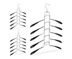 Relaxdays Mehrlagiger Kleiderbügel 3er Set, 5 Bügel pro Aufhängung, Oberbekleidung, platzsparend und rutschfest, schwarz, 3 Stück