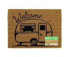 JVL Fußmatte Caravan Mottoparty Rückseite Eingangstür mat-Welcome Design, 36 x 50 cm, Kokosfaser + Latex, braun, 36 x 50 x 1,5 cm