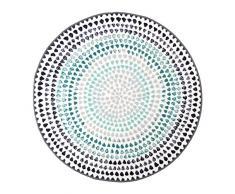 Vallila CM000749-70 Nara Gedruckt Teppich, Polyester, türkis, Durchmesser 133 cm
