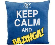 The Big Bang Theory 0122078 Kissen Keep Calm and Bazinga, Polyester, schwarz, 40 x 40 x 3 cm