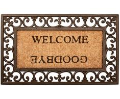 """Esschert Design Schmutzfangmatte, Fußmatte mit Motiv """"Welcome/Goodbye"""" aus Gummi mit Kokoseinlage, rechteckig, ca. 76 cm x 45 cm"""