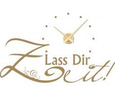Graz Design 800159_GD_081_de Wandtattoo Uhr Wanduhr modern Spruch Lass Dir Zeit mit Schnecke Deko für Wohnzimmer (Farbe=081 hellbraun / Uhrwerk=Gold)