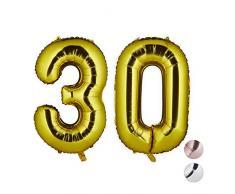 Relaxdays Folienballon Zahl 30, Party Dekoration für 30. Geburtstag, Jubiläum, 85-100 cm, XXL Riesenluftballon, Gold