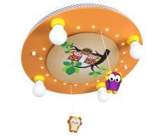 Elobra Kinder Lampe Deckenlampe Eulen Familie mit Mobile Deckenleuchte Kinderzimmer Holz mit Nachtlicht LED, lachsfarben 128237