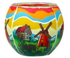 Himmlische Düfte Geschenkartikel CC246 Tischdekoration, Springtime Windlicht Glas 11 x 11 x 9 cm, bunt