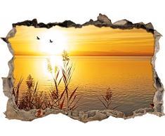 Pixxprint 3D_WD_S2244_92x62 traumhafter Sonnenuntergang am See Wanddurchbruch 3D Wandtattoo, Vinyl, bunt, 92 x 62 x 0,02 cm