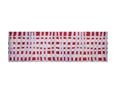 LifeStyle-Mat 150357 Teppichläufer, waschbar und rutschfest, Mikrofaser, kariert rot / beige / flieder, 50 x 150 x 1.1 cm