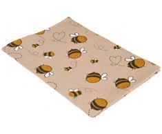Vaitkute 216052 2-er Set Geschirrtücher Biene Halbleinen bedruckt, 47 x 70 cm, 50% Leinen und Baumwolle, 40 Celsius waschbar, natur / gelb, 240 g/m2